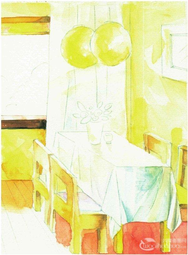 学画画 水彩画教程 水彩风景画 > 水彩室内场景的绘画技巧教程(3)
