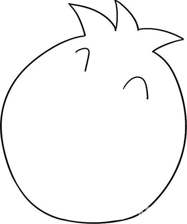 2,长出眼睛 趣味简笔画:开口笑的石榴绘画步骤