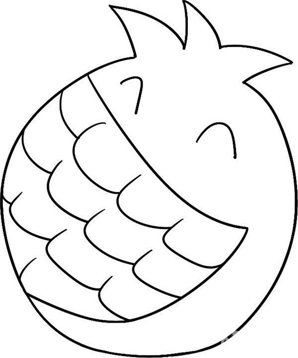 趣味简笔画 开口笑的石榴入门步骤教程 4