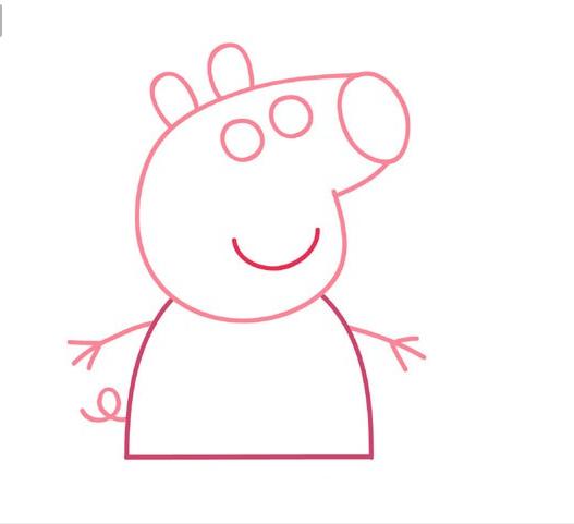 简笔画;小猪佩奇教程_儿童画教程_学画画_我爱画画网